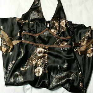 Black multi colored satin halter dress